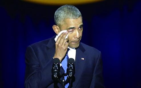 奥巴马告别演讲力捍政图片