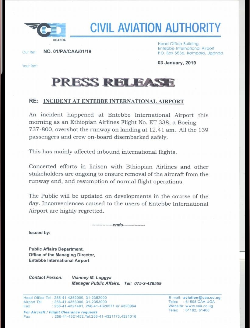 图:埃塞俄比亚航空客机下落后冲出跑道 图片来源:JACDEC