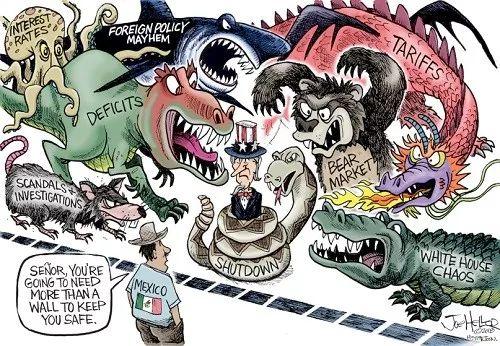 """【建墙保命】山姆大叔被""""当局关门蛇""""""""白宫乱局鳄""""""""熊市熊""""""""关税龙""""""""赤字恐龙""""""""酬酢政策紊乱鲨""""""""利率章鱼""""""""丑闻调查鼠""""等怪兽包围,奄奄一息。边界另一侧的墨西哥人劝道:""""师长,想要保命,你要修的墙可不止一壁。""""(英国《一周》杂志网站)"""