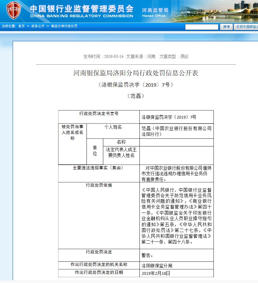 农业银行洛阳分行两负责人被罚    系因偃师支行违规办理信用卡