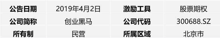 【荣正D487 首期公告客户】创业黑马2019年限制性股票激励计划简析
