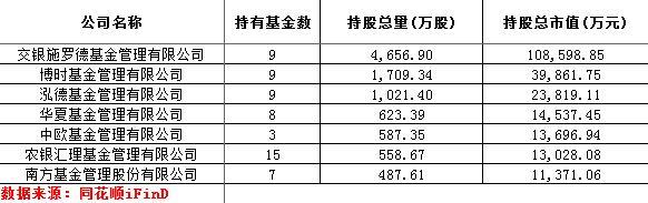 持有视觉中国股票市值超过1亿的基金公司