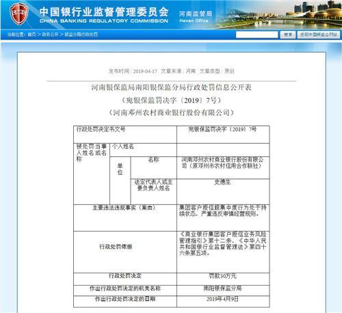 河南银保监局2019年4月17日通报