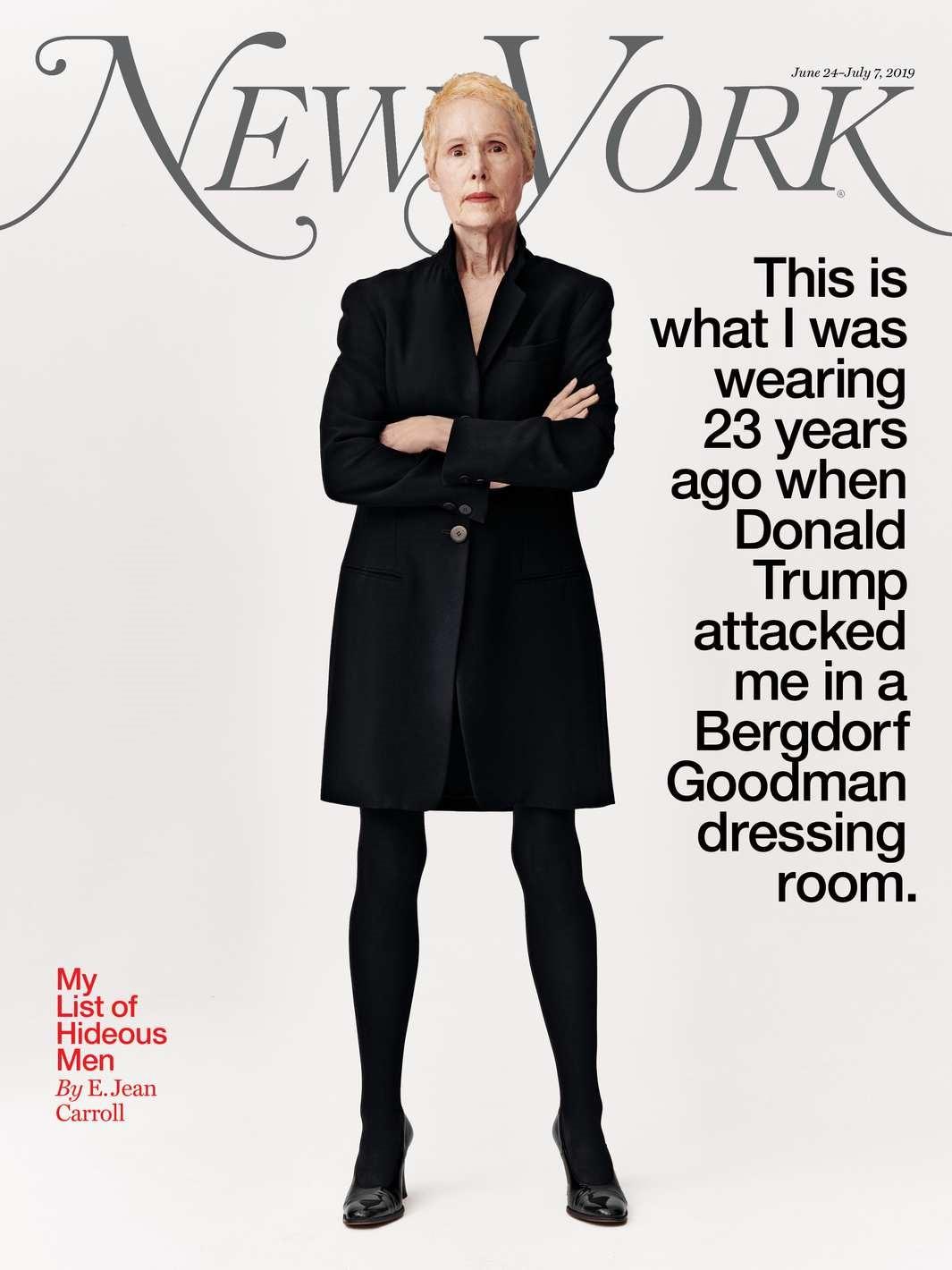 最新一期《纽约》杂志的封面故事。卡罗尔声称,23年前遭到特朗普性侵时,自己就穿着这身大衣连裙。