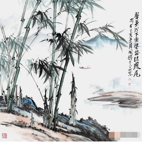 李国胜国画竹子山水画10幅(真迹)