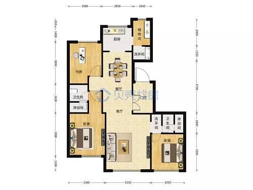 132�O3室2厅2卫户型图(图片来源:贝壳找房)