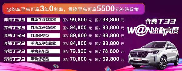 一汽奔腾T33售价6.98万元起 推荐购买互联智酷型