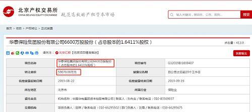 「浙江温州股票配资公司」5.9亿底价转让6600万股 第9家小股东欲退出华泰保险