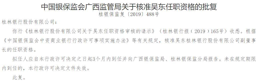 桂林银行副行长吴东升任行长 任职资格已获批
