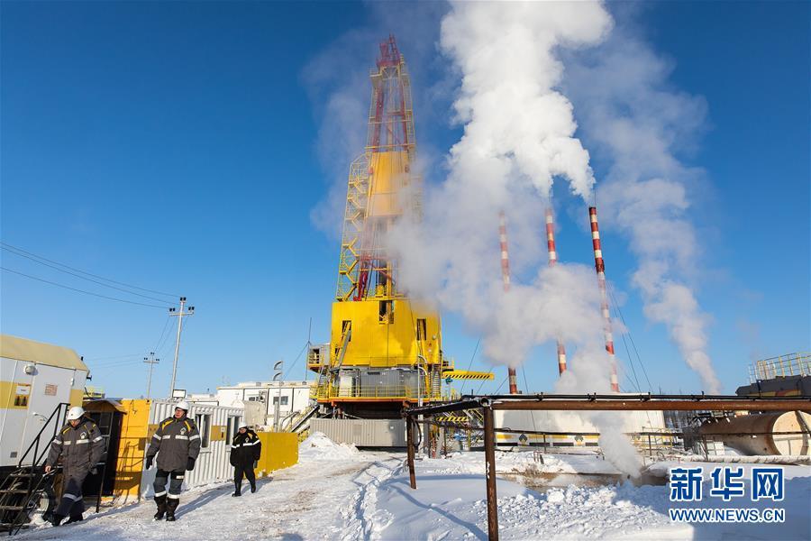 这是2019年2月27日在俄罗斯克拉斯诺亚尔斯克边疆区的万科尔油田拍摄的钻井现场。万科尔油田自2009年开始通过俄罗斯东西伯利亚-太平洋管道对中国出口石油,目前是该管道输华石油的最主要油源之一。新华社记者 白雪骐