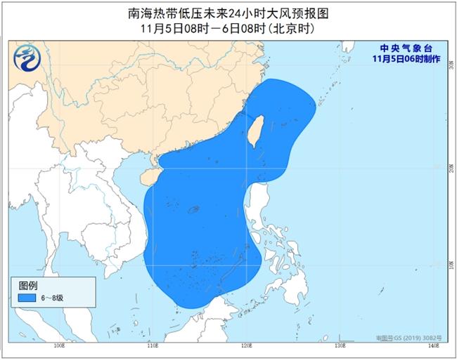 南海热带低压携手冷空气 我国东南沿海将有6到8级大风