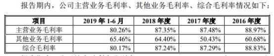2016年至2019年1-6月,同行業可比公司同花順主營業務毛利率分別為91.80%、90.00%、89.47%、86.45%;2016年至2018年,同行業可比公司大智慧主營業務毛利率分別為-47.08%、61.60%、59.46%。