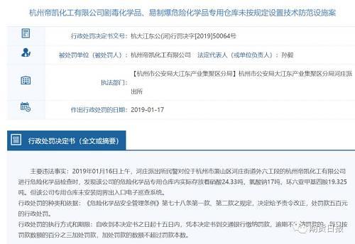 2019年3月15日,河庄派出所民警在位于浙江省杭州市萧山区河庄街道外六工段的杭州帝凯化工有限公司进行反恐怖防范检查时,发现该公司存在以下问题:1.无安防监控中心;2.无出入口控制装置。遂民警要求该公司于2019年3月22日前完成整改工作。2019年4月25日,河庄派出民警对杭州帝凯化工有限公司进行复查时,发现其仍未安装出入口控制系统。杭州市公安局大江东产业集聚区分局根据《中华人民共和国反恐怖主义法》第九十一条第二款之规定,决定给予杭州帝凯化工有限公司罚款一千五百元的行政处罚。