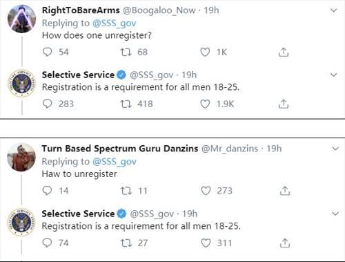 美国兵役登记局推特