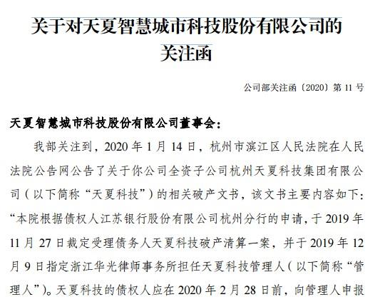 天夏智慧子公司破产事项未披露,深交所都急了!董事长证券事务代表不积极配合监管工作