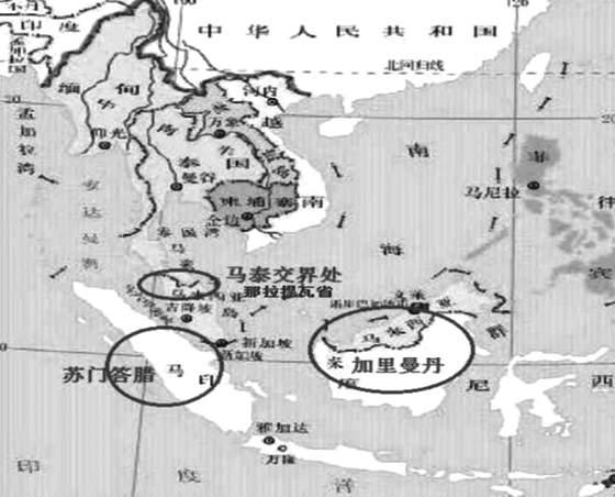 图为东南亚产胶国真菌性病害受灾区位置暗示