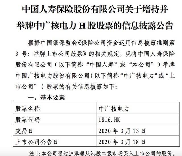 这是中国人寿系今年以来的第二例举牌,上月刚举牌农业银行H股。