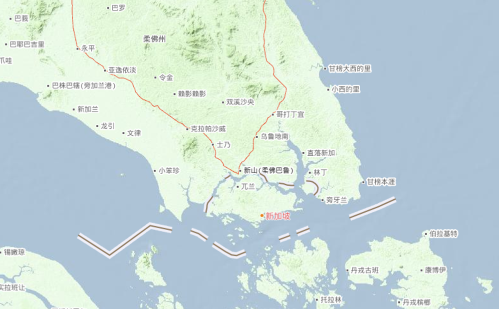 新加坡和马来西亚地理位置示意图 图片来源:自然资源部网站