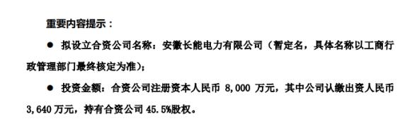 皖天然气拟与和县城投、三峡电能共同出资设立合资公司注册资本为8000万元