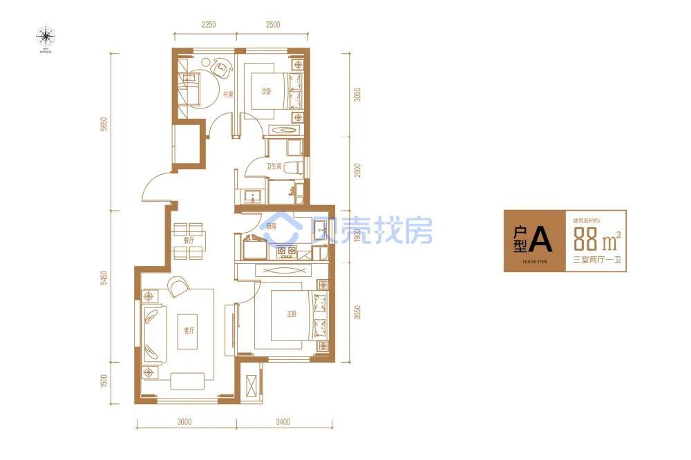 88�O3室2厅1卫户型图(来源:贝壳找房)