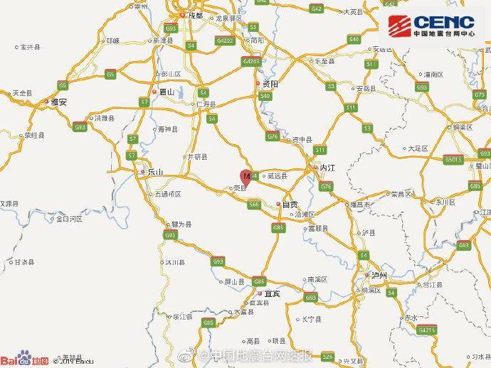 四川内江市威远县发生3.0级地震 震源深度10千米