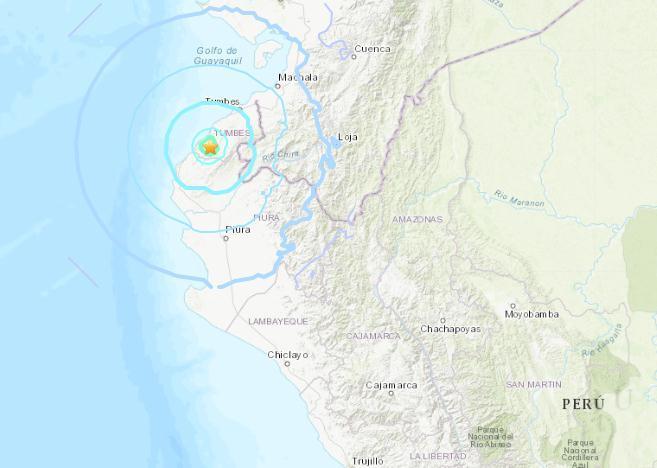 秘鲁西部海岸地区发生5.5级地震 震源深度33.2千米