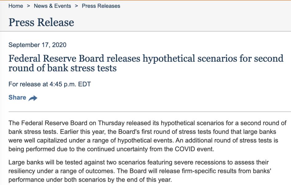 美联储开启第二轮银行压力测试 考虑延长派息和股票回购限制