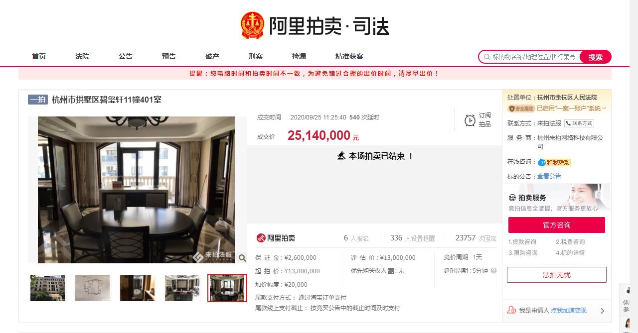 杭州法拍豪宅火爆!一洋房1300万起拍,547轮竞价,2514万成交