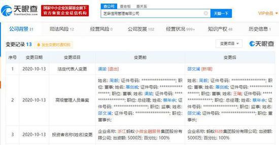 渠瑜退出芝麻信用管理有限公司法人,由董事长邵文澜接任