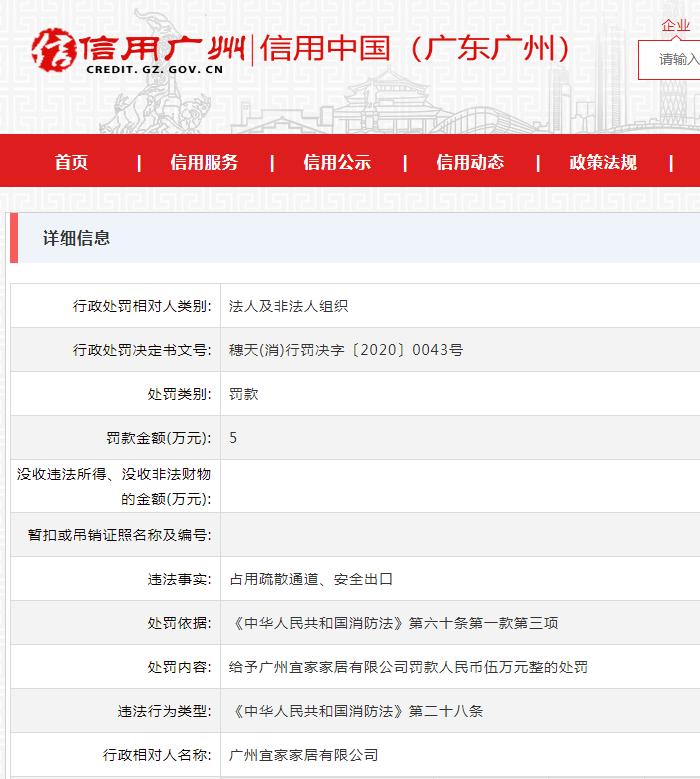 广州宜家家居被罚5万:占用疏散通道、安