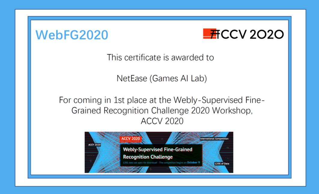 (网易AI Lab荣获ACCV 2020国际细粒度网络图像识别赛第一名的奖状)
