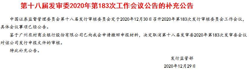 广州农商银行上会前夕生变 因战略规划调整撤回A股IPO申请
