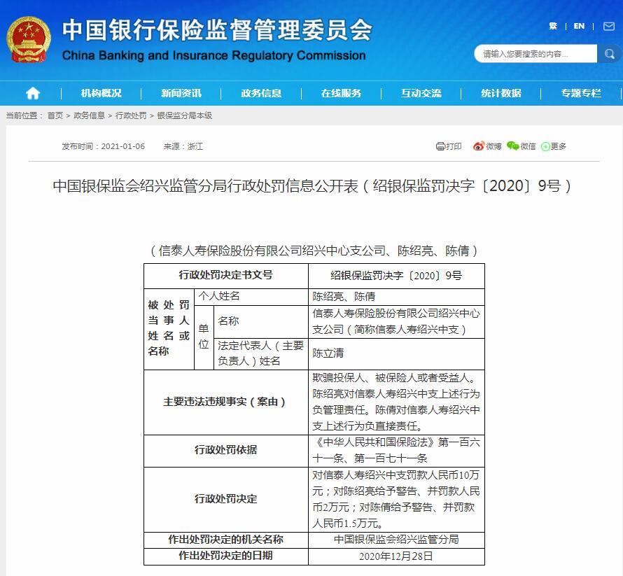 新泰人寿绍兴中智因欺骗被保险人受益人被罚款10万元