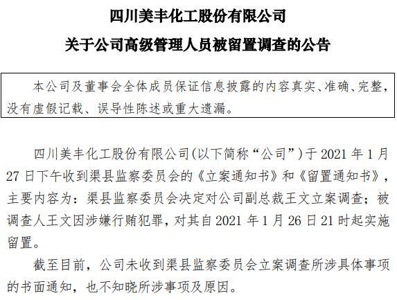 <b>四川美丰高级副总裁王文因涉嫌行贿罪被立案查处</b>