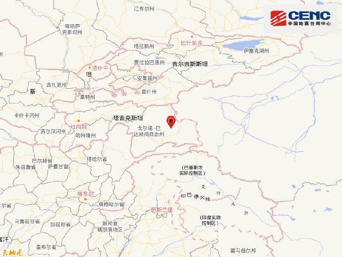 塔吉克斯坦发生6.1级地震 震源深度100千米