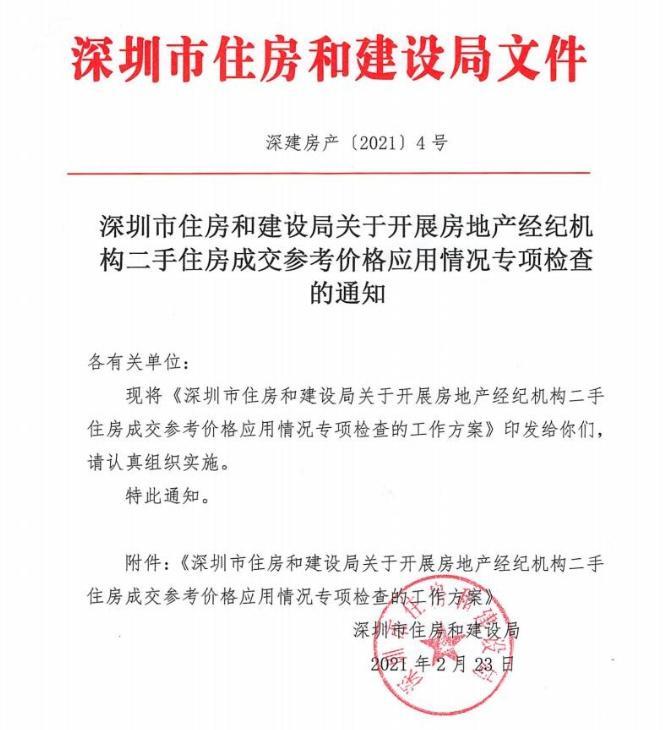 深圳住建局:开展二手房成交参考价专项检查 稳定市场预期