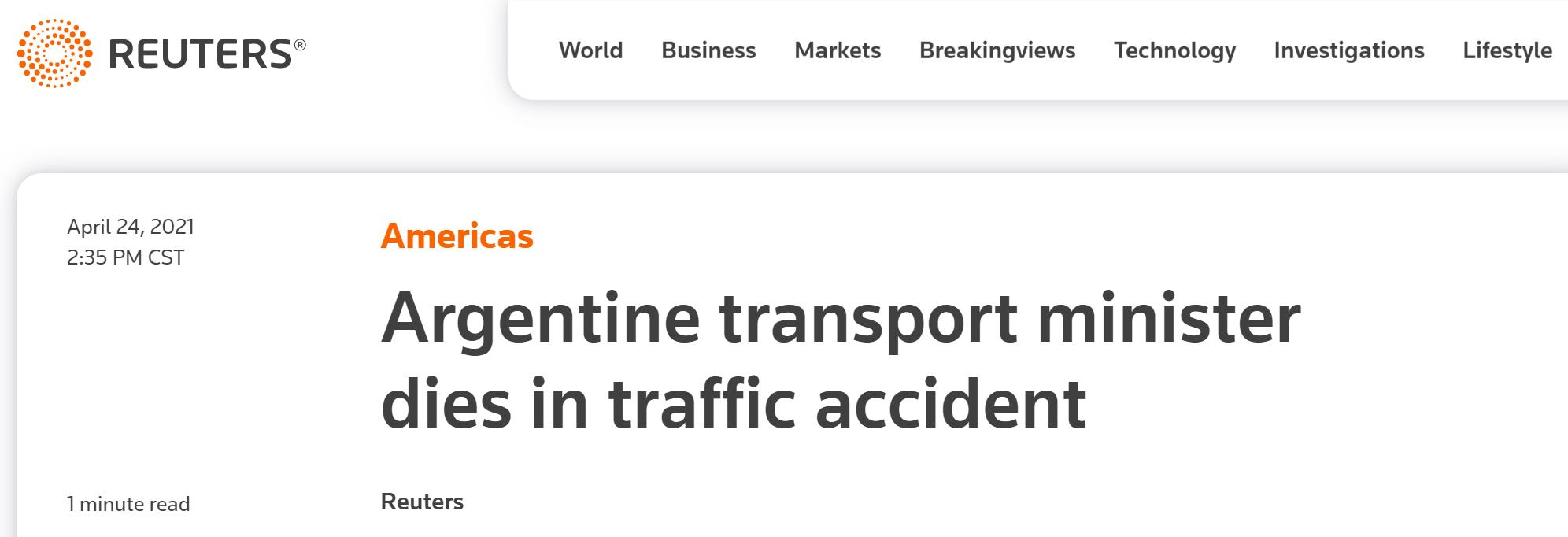 阿根廷交通部长在交通事故中丧生,总统悼念