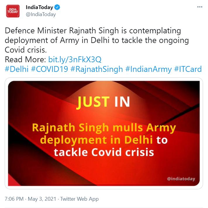 突发!印媒:印度防长正考虑在德里部署军队,应对新冠危机