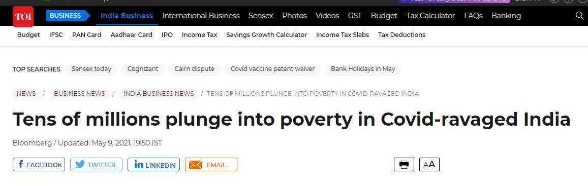 皮尤研究中心:自疫情暴发以来,印度估计有7500万人陷入贫困