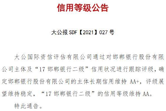 """评级观察 丨 邯郸银行获维持""""AA+""""评级 拟向市财政或市属国企定向增发股份"""