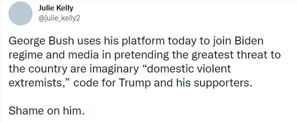"""小布什说美国内极端分子与国外恐怖分子一样""""灵魂邪恶"""",美媒:骂特朗普支持者呢?"""